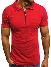 VPASS Camiseta para Hombre, Verano Polo Camiseta Deporte Manga Corta Color sólido Moda Diario Slim Fit Casuales T-Shirt Blusas Camisas algodón Suave básica Camisetas Varios Modelos