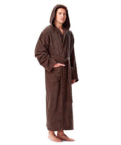 Pacific - Peignoir de bain en éponge à capuche extra-long pour femme/homme 100% Coton Tissu bouclette doux et léger Robe de chambre (Large, Châtain)