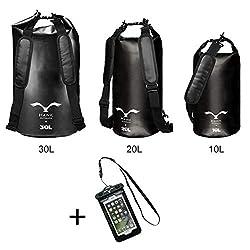 HAWK OUTDOORS Dry Bag - wasserdichter Packsack mit gepolsterten Schulter-Gurten inklusive wasserdichter Handy-Hülle - 30L/20L/10L - Stausack Seesack - Wasserfester Rucksack - Segeln (Schwarz, 20L)