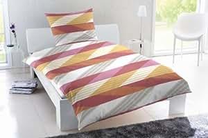 2 tlg. Renforce Bettwäsche Garnitur Set Streifen Farbe: Rot & Weiß, Größen: 135 x 200cm und 155 x 220cm Größe 155 x 220