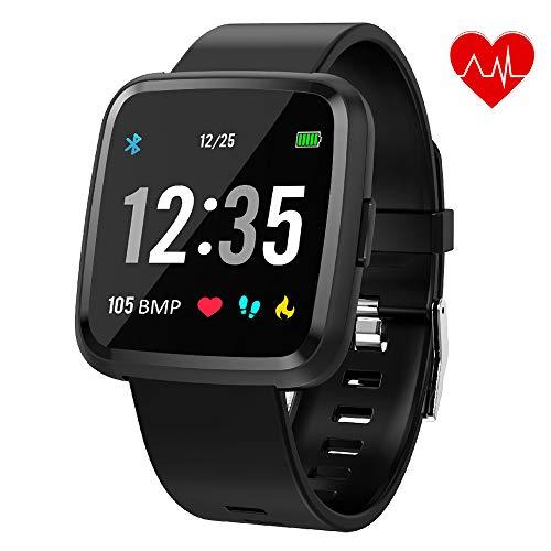 Juboury Bluetooth Smartwatch, Fitness Tracker Smart Watch Sport Uhr Aktivitätstracker Schrittzähler Schlaftracker Voller Touchscreen für Herren Damen und Kinder Kompatibel für iPhone Android Handy Touch-screen-bluetooth