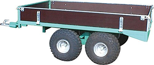 Schwarz Transportgeräte Plattformanhänger mit Bordwänden für Gartentraktor, ATV's/Quad's Handtransportgeräte, patinagrün, 380 x 136 x 85 cm