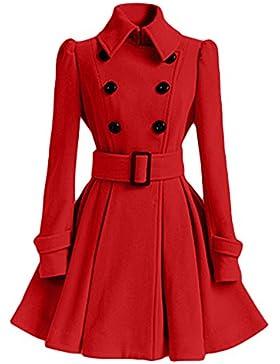 Mujer Pura Color Splice Cinturón Espesar Cálido Abrigo Rojo S