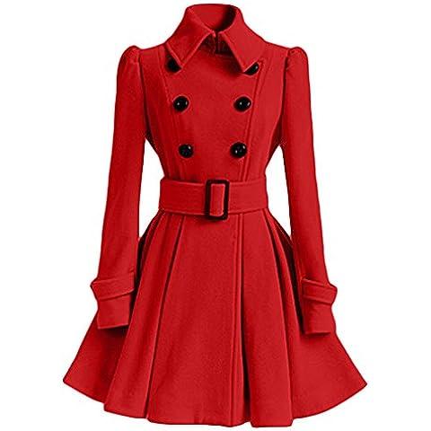 Mujer Pura Color Splice Cinturón Espesar Cálido Abrigo Rojo XL