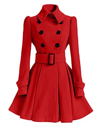 Mujer Pura Color Splice Cinturón Espesar Cálido Abrigo Rojo L