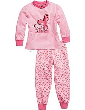 Playshoes Mädchen Zweiteiliger Schlafanzug Schlafanzug Single-jersey Pferde