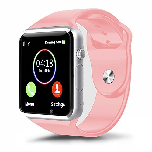 padgene A1Bluetooth Smart Watch Armbanduhr Telefon mit SIM-Karten Slot GSM Fitness Sport Armbanduhr Activity Tracker Gesundheit Schrittzähler Uhr mit Sleep Monitor Armbanduhr Handy für Android und IOS Smartphones, rose