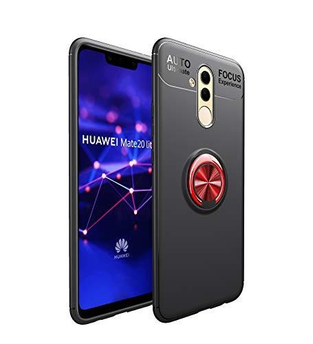 Shinyzone Coque pour Huawei Mate 20 Lite,Noir et Rouge avec Anneau Rotation 360 Degrés,TPU Mince Doux Absorption des Chocs Compatible avec Support de Voiture Magnétique
