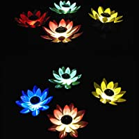 JoyFan Solar Lotus Lamp,Pond Solar Floating Lights LED Waterproof Solar Garden Lamp Floating Pond Night Lights Wish Lotus Leaf Lamp for Swimming Pool or Pond Decoration