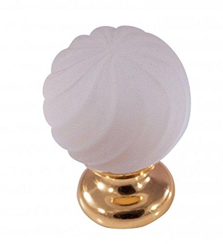 Sofoc A875164 Boule Trosadé Bouton de Porte et Tiroir de Meuble en Verre Opaque/Laiton/ Porcelaine/Céramique Blanc et Doré 4,1 x 3 x 3 cm