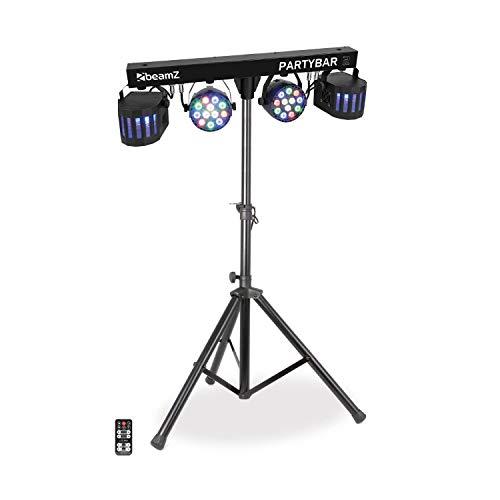 Beamz Partybar 2 • 100 W • 2 PARs • 2 Derby-Projektoren • DMX- oder Standalone-Betrieb • musikgesteuerter Modus mit justierbarer Empfindlichkeit • Automatikmodus • LED-Anzeige • Stativ • schwarz - Farb-led-laser