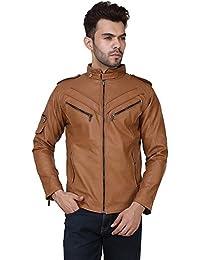 Derbenny Tan Biker Jacket For Men