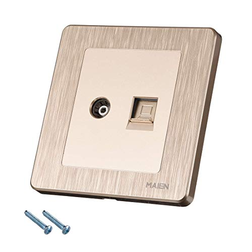 ZCHXD Wall Plate RJ45 Computer TV Socket Outlet Mount Face Plate Champagne Color Mount Wall Plate