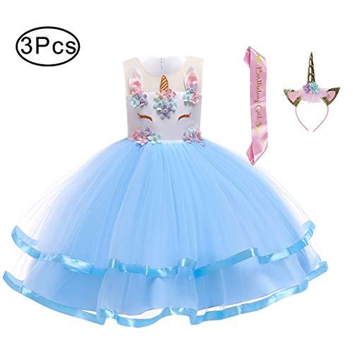 (LZH Mädchen Einhorn Cosplay Blume Hochzeit Weihnachten Geburtstag Party Prinzessin Karneval Kleid)