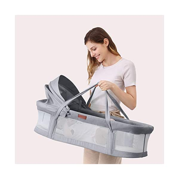 TINGYIN Portable Cot Multifunctional Removable and washable uterine bionic bed, Breathable mesh 100% cotton Baby Nest Bed, For bedroom and travel - Gray TINGYIN ★Adjustable Design: Suitable for 0-15Month. Comes with bag, Great baby shower gift. GROWS WITH YOUR BABY. Being adjustable, the side sleeper grows with your baby. Simply loosen the cord at the end of the bumpers to make the size larger. The ends of the bumpers can be fully opened. ★HEALTH & COMFY: hypoallergenic materials, breathable and non-toxic. We use 100-percent cotton fabric and breathable, hypoallergenic internal filler, which is safe for baby's sensitive skin. It will give your child serene, safe, and sound sleep in their lovely co sleeping crib. ★MULTIFUNCTIONAL AND PORTABLE. Use the infant nest as a bassinet for a bed, baby lounger pillow, travel bed, newborn pillow, changing station or move it around the house for lounging or tummy time, making baby feel more secure and cozy. The lightweight design and easy-to-use package with handle make our newborn nest a portable baby must-have. 5