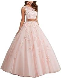 Desconocido Vestido de quincea?era de dos piezas de JJL Vestido de baile de espalda pura vestido de fiesta