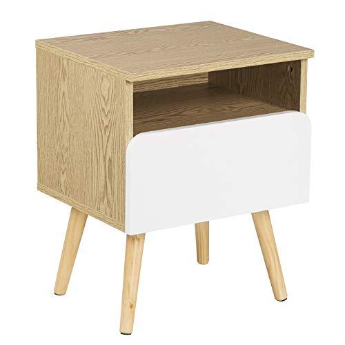 WOLTU Nachttisch TSR58 Nachtkommode Nachtschrank Beistelltisch Sofatisch, mit Schublade und Offenem Fach, mit Beinen, Holz, 40x33,5x50cm(BxTxH)