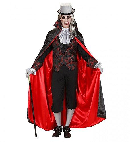 Für Herren Kostüm Vampir - shoperama Herren-Kostüm Vampir mit Brokatmuster Halloween GRAF Dracula Umhang Weste Jabot, Größe:L