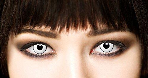 3-Monatslinsen WHITE MANSON, weiße Zombie Kontaktlinsen, Crazy Funlinsen, Halloween, Fastnacht, weiß - 4