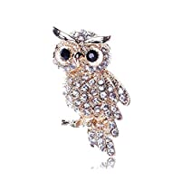 Aodump 1 Pcs Cute Diamond owl Gold Brooch Pin Decorated Birthday Gifts Jewelry Clothes Accessories