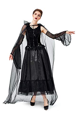 Tollstore Halloween Schwarze Geisterbraut Kostüm Vampire Queen Königin Zombie Böse Evil Verkleiden Geist Gespenst Lang Veil Braut Kleid Brautkostüm Damen M (Gespenst Kostüm Damen)