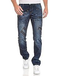 BLZ jeans - Jeans homme bleu délavé droit fantaisie
