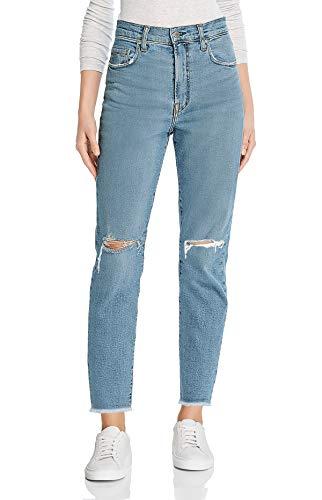 Monyray jeans donna vita alta strappati pantaloni dritti in denim mom jeans con fondo grezzo e strappi alle ginocchia blu lavaggio xs (vita 64cm / fianchi 88cm)