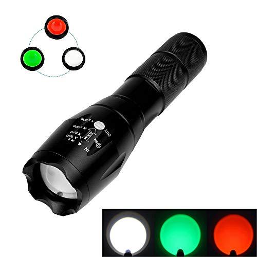 LUXJUMPER Taktische Taschenlampe, Ultra Bright Rot Grün Weißes Licht LED-Taschenlampe 5 Modi Zoombare Taschenlampe Lampe mit Magnetfuß für Jagd, Camping, Wandern, Angeln (Jagd-rot Led-taschenlampe)