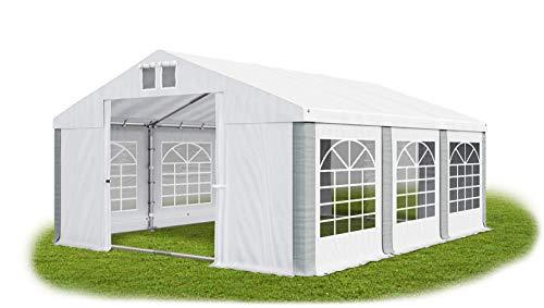 Das Company Partyzelt 4x6m wasserdicht weiß-grau mit Bodenrahmen 560g/m² PVC Plane Solide Festzelt Gartenzelt Summer Floor SD