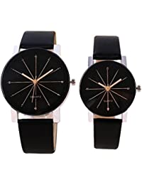 Iconic Crystal Shape Glass Black Leather Analogue Watch - For Couple