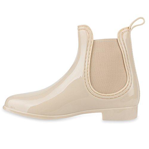 Bequeme Stiefeletten | Damen Chelsea Boots | Gummistiefel Lack Schuhe Creme
