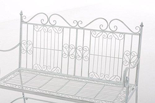 CLP Eisen-Gartenbank ADELE im Landhausstil, aus lackiertem Metall, 107 x 54 cm Antik Weiß - 4