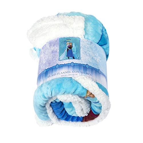 Disney plaid doppiato sherpa misura 100 x 140 centimetri plaid morbidissimo, caldo e confortevole con disegno frozen il regno di ghiaccio codice prodotto: 35508