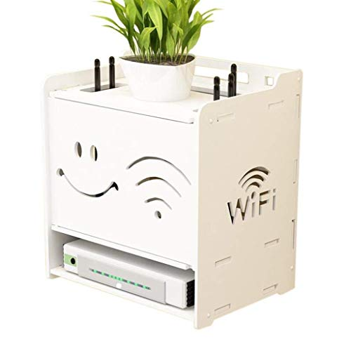 Lszdp-store Smile face Floating Shelves Wand-WLAN-Router TV-Box Set-Top-Box 25x18x26,5 cm Wanddekoration Rack