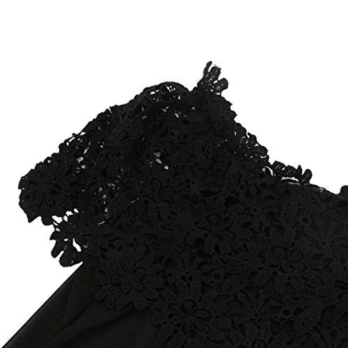 Bluestercool Femmes sexy hors épaule Top Casual Chemisier Dentelle Crochet Chiffon Chemise Noir