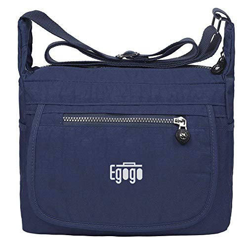 EGOGO Wasserdicht Nylon Damen Casual Umhängetasche Messengertasche Schultertasche Henkeltasche (Navy Blau) -