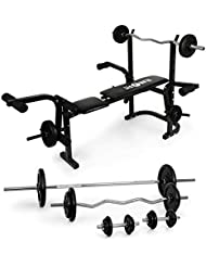 Klarfit Banco de entrenamiento centro de fuerza con juego de pesas (Entrenador multifunción, inlcuye pesas cortas, larga, ondulada, ajustable 3 niveles, 18 elementos (6 x 1.25 kg, 6 x 2.5 kg, 2 x 5 kg, 2 x 10 kg, 2 x 15 kg), banco de musculacion regulable)