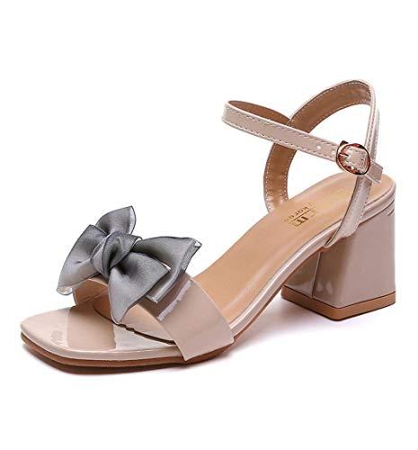 HupoopMode Womens Open Toe Butterfly Knot Schuh Starke Ferse Schnalle Römische Sandale(Beige,39) - Gepolsterte Womens Athletische Socken
