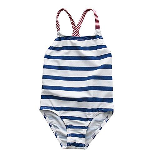 LOSORN ZPY Mädchen Badeanzug Einteiler Mehrfarbig Kleinkind Streifen Bikini Strand (2T(1-2 Jahre Alt), Blau) (Kleinkinder Badeanzüge Für Mädchen)