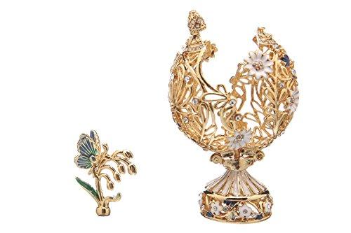 Dekorativer Russische Fabergé-Stil geschnitzt Ei mit Blumen & Schmetterling 7 cm Goldfarben -