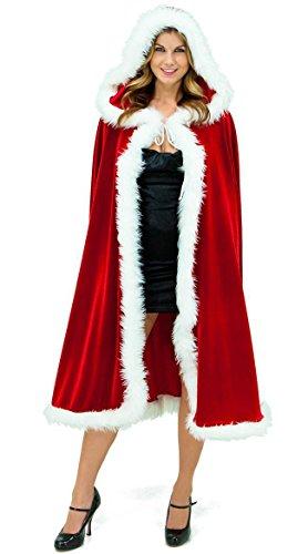 ShineGown Weihnachts Umhang Weihnachtsmann Cosplay Damen Kostüm Samt Robe Rot Kapuzen Kap Stilvolle Lange Winter Hochzeit Wraps mit Weißem Plüsch -
