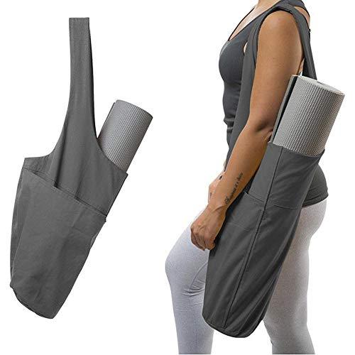 KOBWA Yogamatte Tasche - Yogamatte Tragetasche mit großer Seitentasche & Reißverschlusstasche - passend für die meisten Matten - Yogamattenhalter grau (Taschen Tragetaschen Pflege Und)