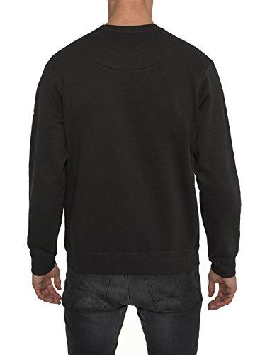 Herren Designer Sweatshirt in Schwarz mit Design Metallic Aufdruck in Gold SKULL - Höchste Qualität 100% Baumwolle, Rundhals, Langarm, Urban Mode im Fashion Rock Style, Coole Sweatshirts für Männer Schwarz