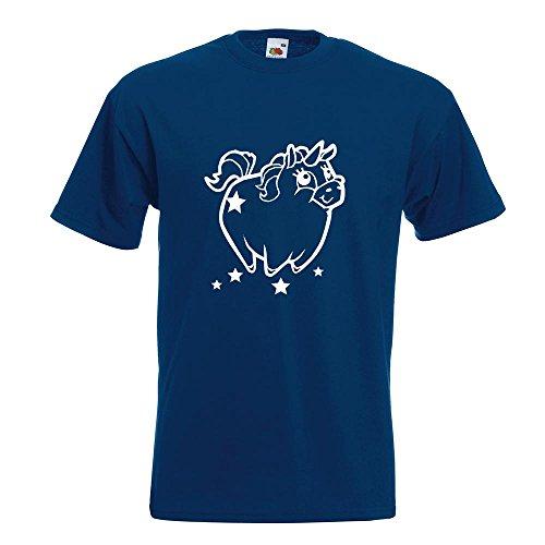 KIWISTAR - Pummeliges Einhorn T-Shirt in 15 verschiedenen Farben - Herren Funshirt bedruckt Design Sprüche Spruch Motive Oberteil Baumwolle Print Größe S M L XL XXL Navy