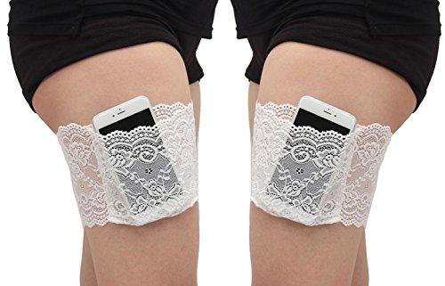 UMIPUBO Elastische Oberschenkel Socken Damen Lace Schenkel-Band Anti-Chafing Bands Anti-Rutsch Oberschenkelbänder mit Cellphone Tasche (S:50-55cm, Weiß (1 Paar))
