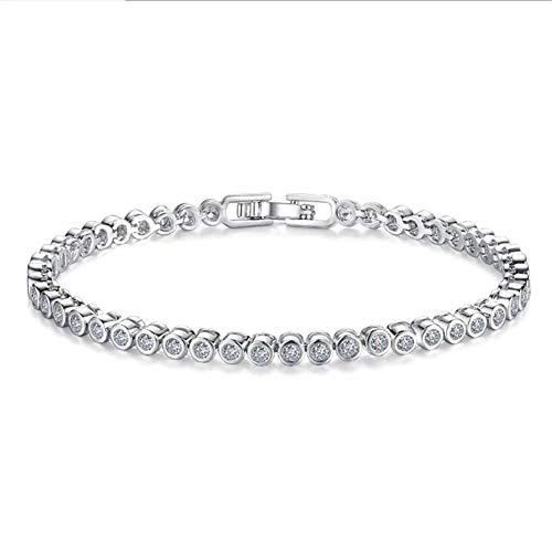 XINGYU Damen-Armband 925 Sterling Zirkonia,Verstellbar Kristalle schmuck Sterling-Silber weißgold Legierung Charm Schlangenkette versilbert Geschenk für Frauen, 17cm