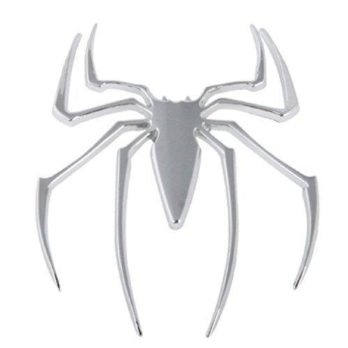 Auto Für Spider (Auto Aufkleber 3D Chrom Spinne Spider Metall Emblem silberfarben, neu)