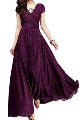 Deep Purple Dress (Damen Elegante Swing Boho Kurzarm Deep V Neck Plus Size Maxi Kleid Purple XXL)