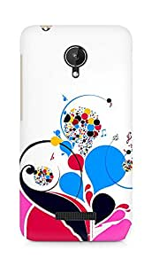 Amez designer printed 3d premium high quality back case cover for Micromax Canvas Spark Q380 (Patterns colorful bright notes treble)