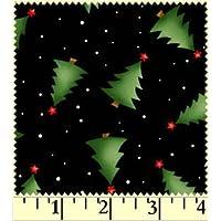 Fat Quarter Classics Alberi di Natale su nero cotone tessuto